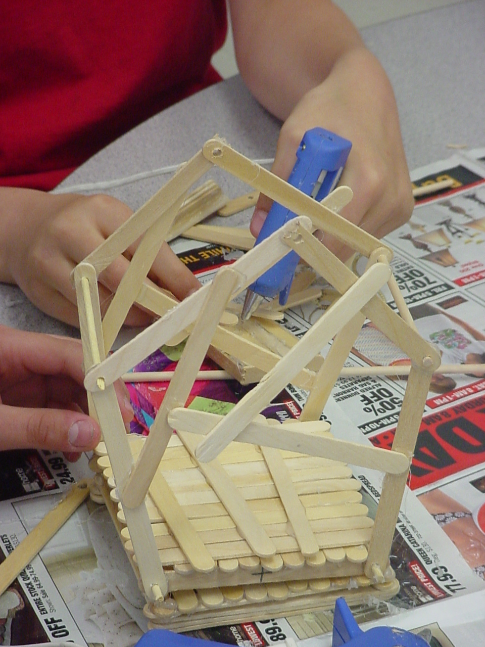 close-up of a catapult being built